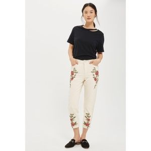 TopShop Moto Mom Jeans Cropped Flower Embroidered